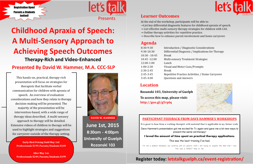 June 1st 2015 - Childhood Apraxia of Speech - A Multi-Sensory Approach to Achieving Speech Outcomes